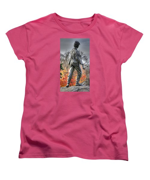 Women's T-Shirt (Standard Cut) featuring the photograph War Fighters - 26th Pennsylvania Emergency Militia Infantry-b1 Defending The Town Of Gettysburg by Michael Mazaika