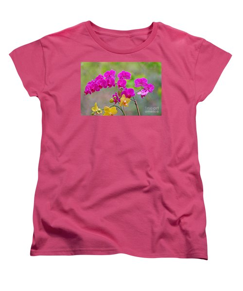 Women's T-Shirt (Standard Cut) featuring the photograph Warbler Posing In Orchids by Luana K Perez