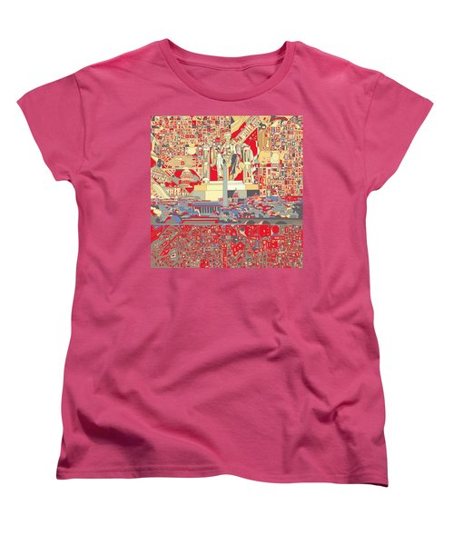 Washington Dc Skyline Abstract 6 Women's T-Shirt (Standard Cut) by Bekim Art