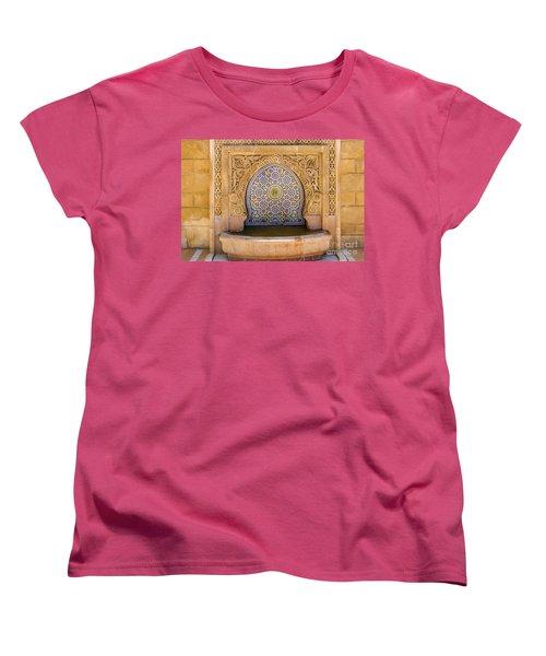 Women's T-Shirt (Standard Cut) featuring the photograph Water Fountain Mausoleum Of Mohammed V Opposite Hassan Tower Rabat Morocco  by Ralph A  Ledergerber-Photography