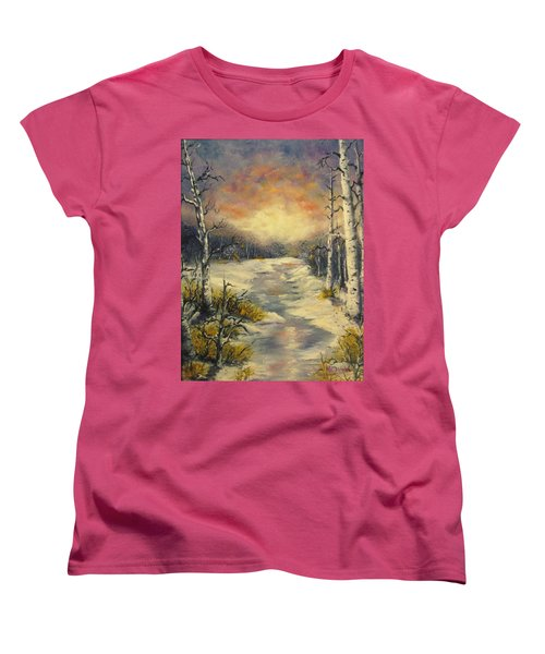 Women's T-Shirt (Standard Cut) featuring the painting Water Music  by Megan Walsh