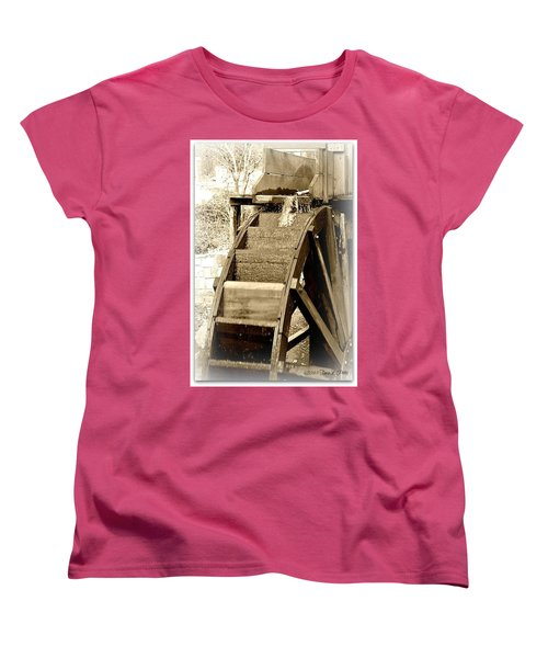 Water Wheel Women's T-Shirt (Standard Cut) by Tara Potts