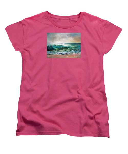 Women's T-Shirt (Standard Cut) featuring the painting Waves by Jieming Wang