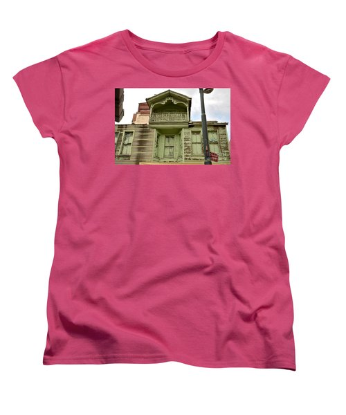 Women's T-Shirt (Standard Cut) featuring the photograph Weathered Old Green Wooden House by Imran Ahmed