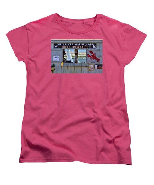 Wellfleet Harbor Thru The Window Women's T-Shirt (Standard Cut) by Allen Beatty