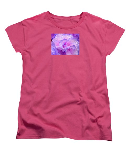 Women's T-Shirt (Standard Cut) featuring the photograph Wet Rose In Pink And Violet by Nareeta Martin