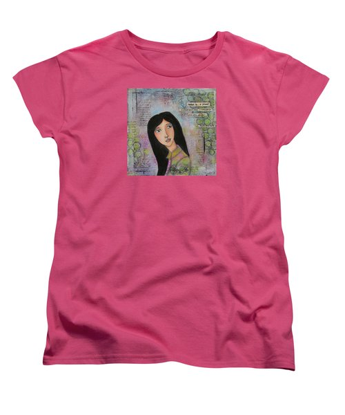 Women's T-Shirt (Standard Cut) featuring the painting What Is A Friend ? by Nicole Nadeau