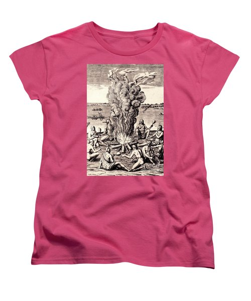 Women's T-Shirt (Standard Cut) featuring the drawing When They Returned From The War They Make Merry About The Fire by Peter Gumaer Ogden