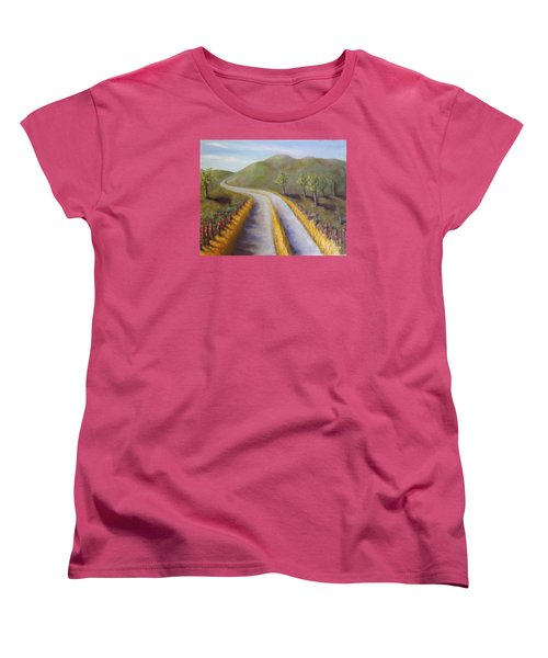 Autumn Road Women's T-Shirt (Standard Cut) by Laurie Morgan
