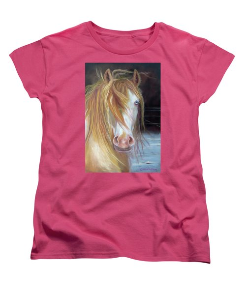 Women's T-Shirt (Standard Cut) featuring the painting White Chocolate Stallion by Karen Kennedy Chatham