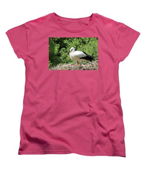 Women's T-Shirt (Standard Cut) featuring the photograph White Stork  by Teresa Zieba