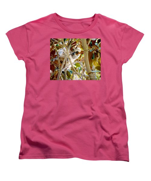 Whooo Are You? Women's T-Shirt (Standard Cut) by Meghan at FireBonnet Art