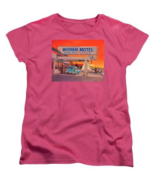 Women's T-Shirt (Standard Cut) featuring the painting Wigwam Motel by Art James West