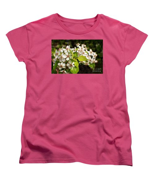 Wild Plum Blossoms Women's T-Shirt (Standard Cut) by Ella Kaye Dickey