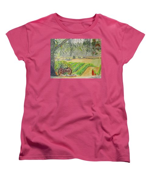Women's T-Shirt (Standard Cut) featuring the painting Willamette Valley Winery by Carol Flagg