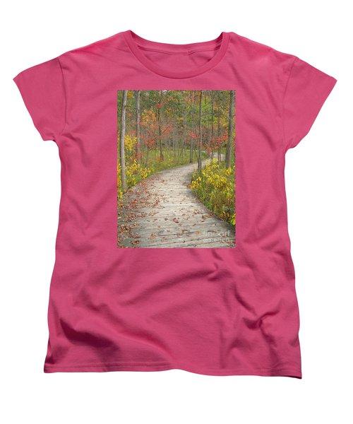 Women's T-Shirt (Standard Cut) featuring the photograph Winding Woods Walk by Ann Horn