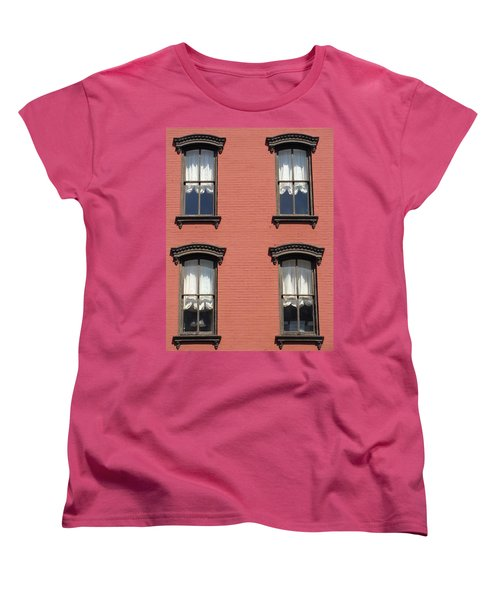 Women's T-Shirt (Standard Cut) featuring the photograph Window's Of Hudson Ny by Ira Shander