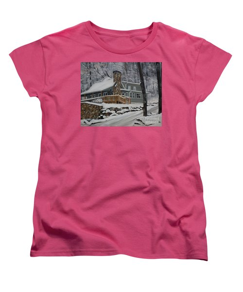 Women's T-Shirt (Standard Cut) featuring the painting Winter - Cabin - In The Woods by Jan Dappen