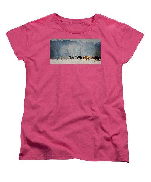 Women's T-Shirt (Standard Cut) featuring the photograph Winter Horses by Ann Lauwers