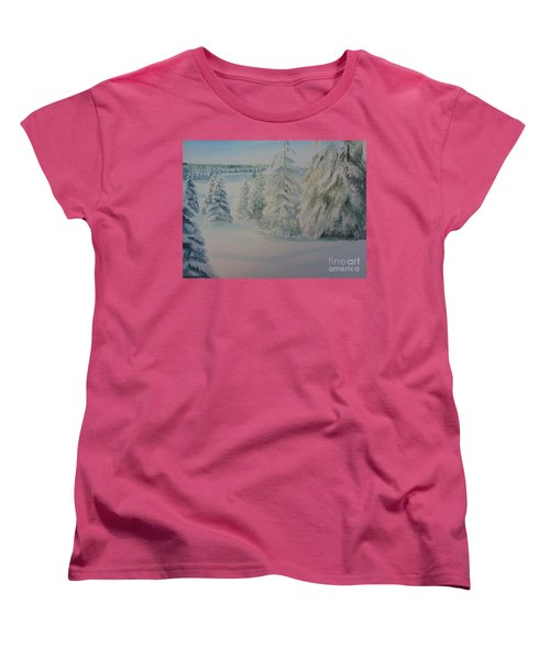 Women's T-Shirt (Standard Cut) featuring the painting Winter In Gyllbergen by Martin Howard