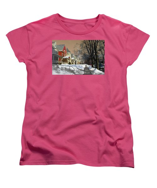 Women's T-Shirt (Standard Cut) featuring the pyrography Winter Scenery  by Viola El