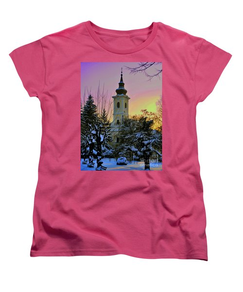 Women's T-Shirt (Standard Cut) featuring the photograph Winter Sunset by Nina Ficur Feenan