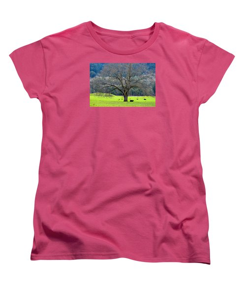 Winter Tree With Cows By The Umpqua River Women's T-Shirt (Standard Cut) by Michele Avanti