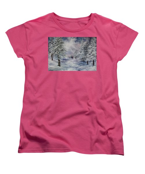 Women's T-Shirt (Standard Cut) featuring the painting Winter Walk On Cannock Chase by Jean Walker