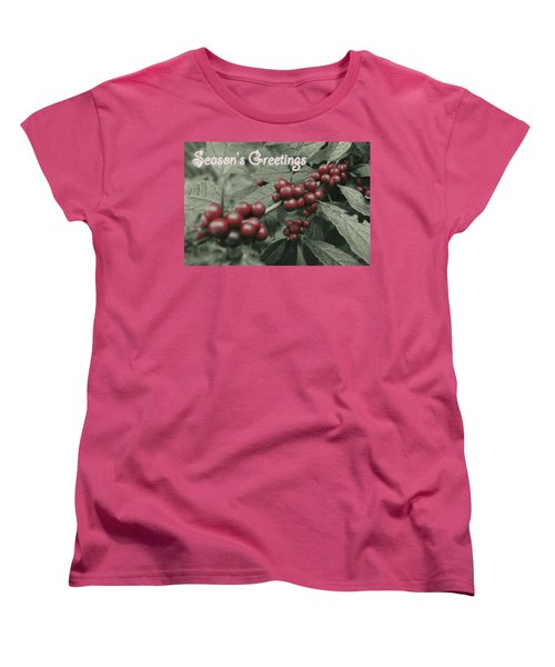 Winterberry Greetings Women's T-Shirt (Standard Cut) by Photographic Arts And Design Studio