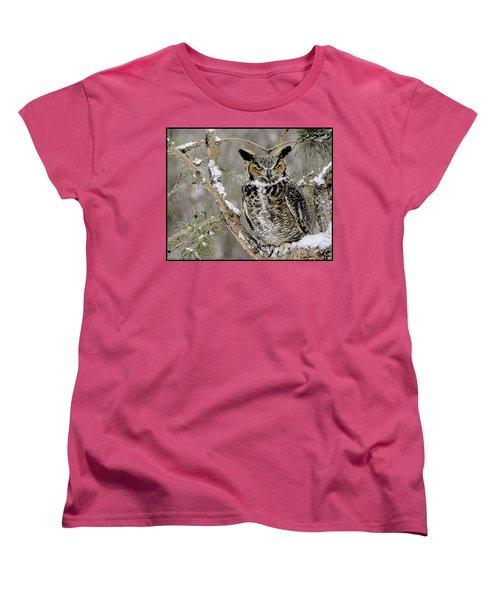 Wise Old Great Horned Owl Women's T-Shirt (Standard Cut) by LeeAnn McLaneGoetz McLaneGoetzStudioLLCcom