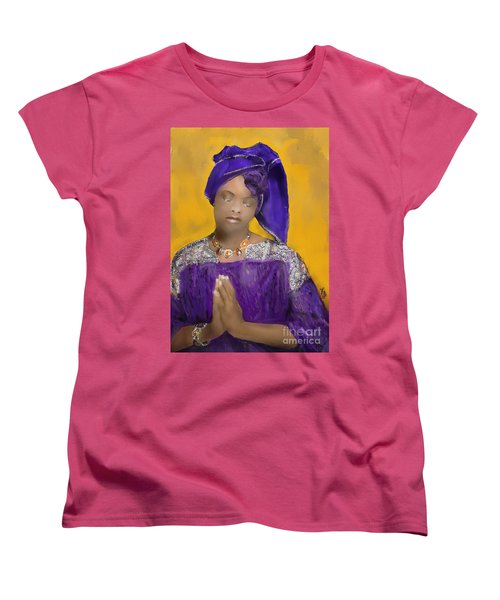 Women's T-Shirt (Standard Cut) featuring the painting Woman Praying by Vannetta Ferguson