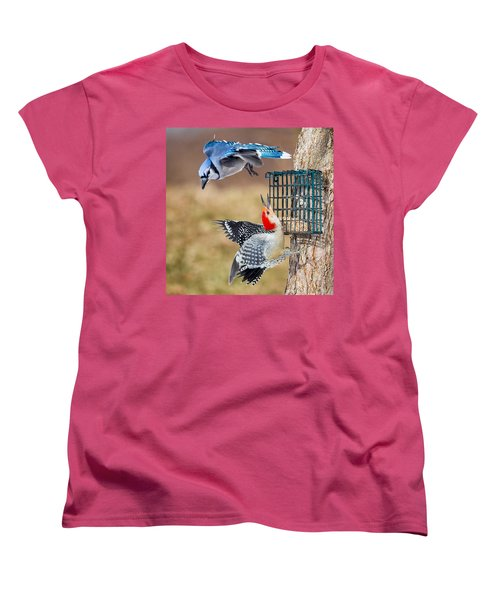Woodpeckers And Blue Jays Square Women's T-Shirt (Standard Cut) by Bill Wakeley
