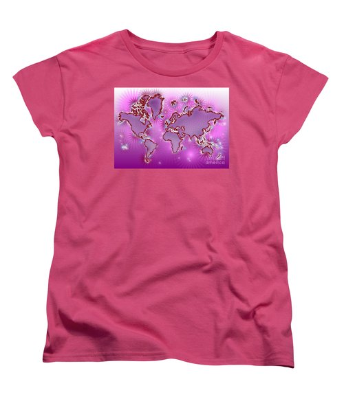 World Map Amuza In Pink And Purple Women's T-Shirt (Standard Cut) by Eleven Corners