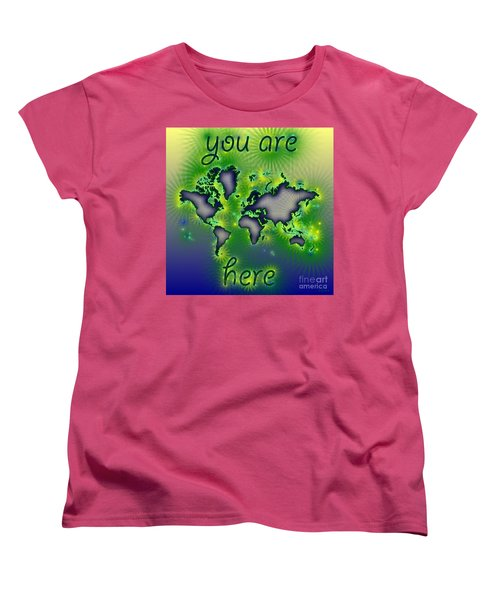 World Map You Are Here Amuza In Blue Yellow And Green Women's T-Shirt (Standard Cut) by Eleven Corners