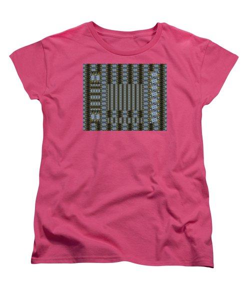 Woven Blue And Gold Mosaic Women's T-Shirt (Standard Cut)