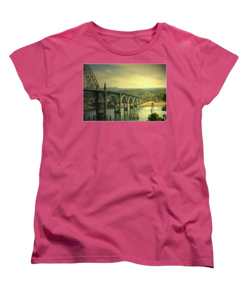 Yaquina Bay Bridge Or Women's T-Shirt (Standard Cut) by Joyce Dickens