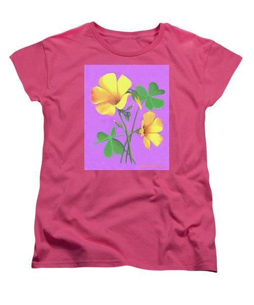 Yellow Clover Flowers Women's T-Shirt (Standard Cut) by Sophia Schmierer