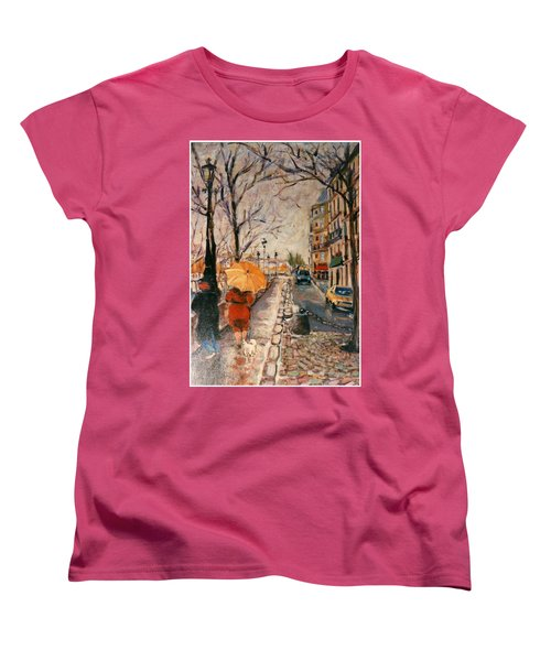Women's T-Shirt (Standard Cut) featuring the painting Yellow Umbrella by Walter Casaravilla