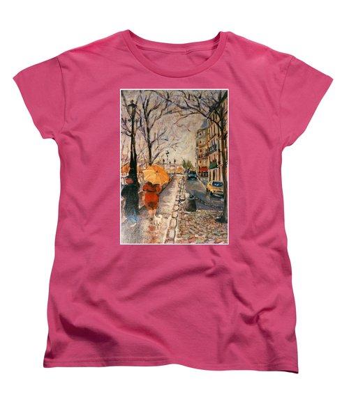 Yellow Umbrella Women's T-Shirt (Standard Cut) by Walter Casaravilla