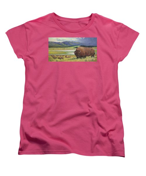Women's T-Shirt (Standard Cut) featuring the painting Yellowstone Bison by Rob Corsetti