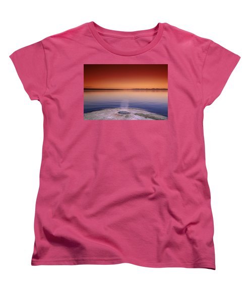 Yellowstone Lake And Geyser Women's T-Shirt (Standard Cut) by Rich Franco