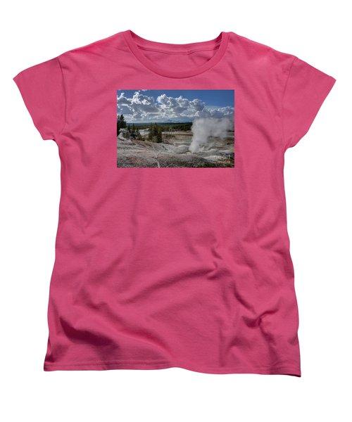 Women's T-Shirt (Standard Cut) featuring the photograph Yellowstone's Norris Geyser Basin by Bill Gabbert