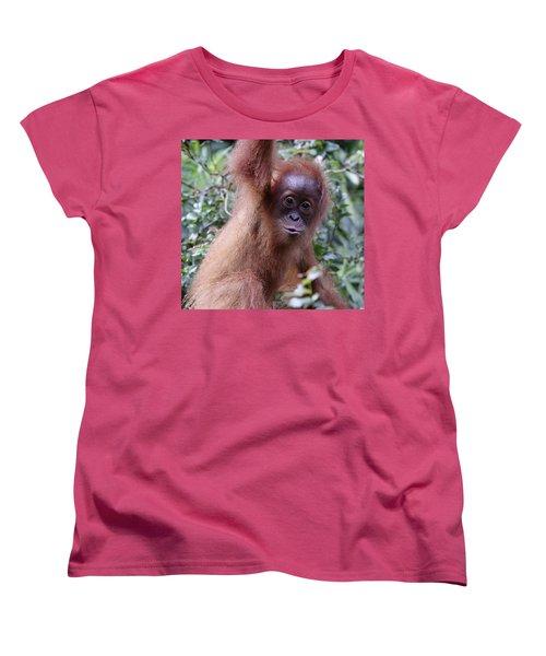 Women's T-Shirt (Standard Cut) featuring the pyrography Young Orangutan Kiss by Shoal Hollingsworth