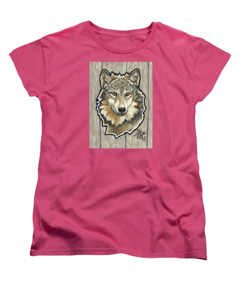 Women's T-Shirt (Standard Cut) featuring the painting Young Wolf by VLee Watson