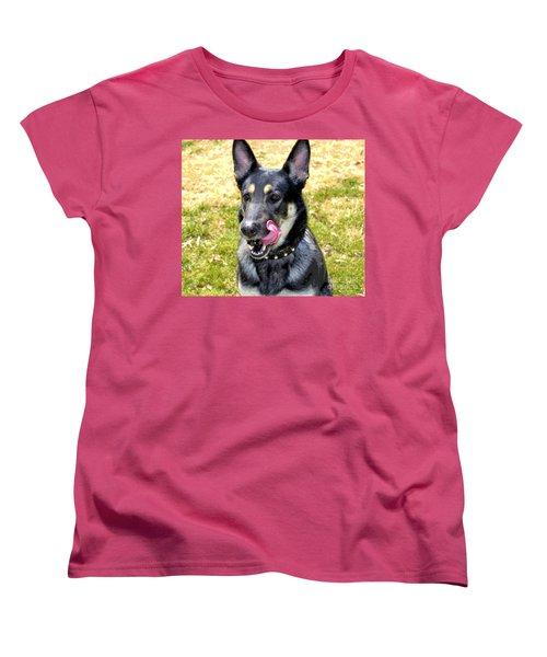 Women's T-Shirt (Standard Cut) featuring the photograph German Shepherd - Yum - Luther Fine Art by Luther Fine Art
