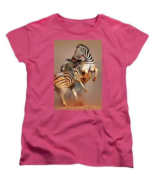 Zebras Fighting Women's T-Shirt (Standard Cut) by Johan Swanepoel