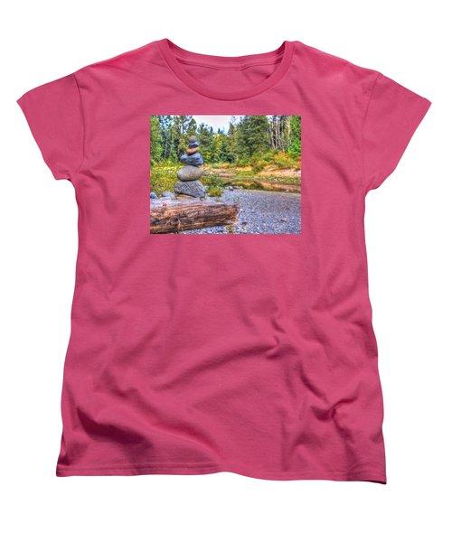 Women's T-Shirt (Standard Cut) featuring the photograph Zen Balanced Stones On A Tree by Eti Reid