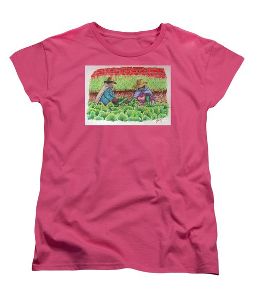 Women's T-Shirt (Standard Cut) featuring the drawing Zucchini In Peru by Lew Davis