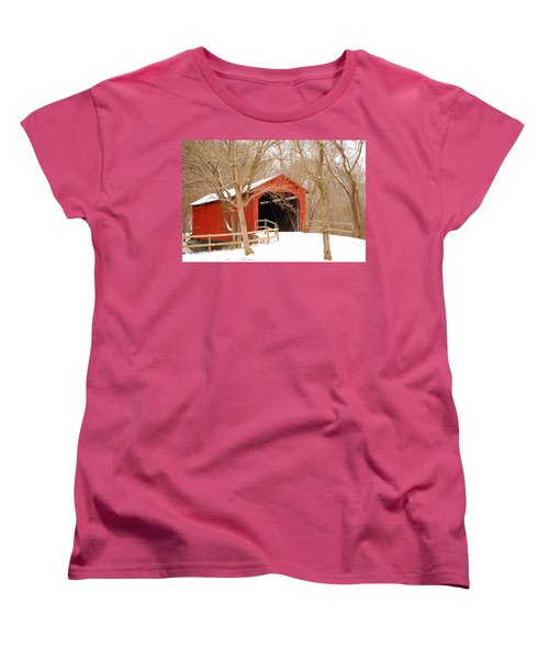 Women's T-Shirt (Standard Cut) featuring the photograph  Sandy Creek Cover Bridge  by Peggy Franz
