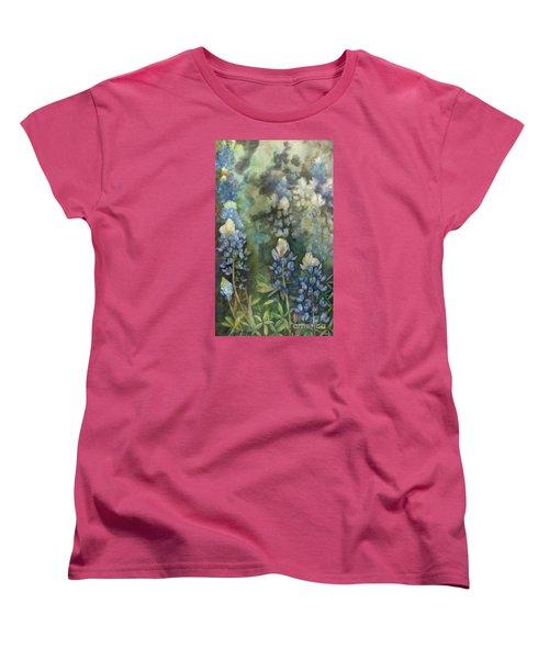 Women's T-Shirt (Standard Cut) featuring the painting Bluebonnet Blessing by Karen Kennedy Chatham